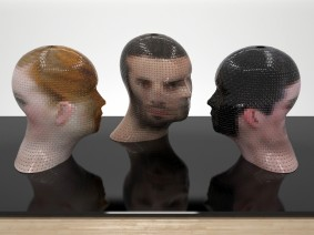 PORTRAIT 360° WatchMe + Anonymous M, Gianluca Traina, 2012, 120 x 40 x 40 cm, Paper and PVC (2)