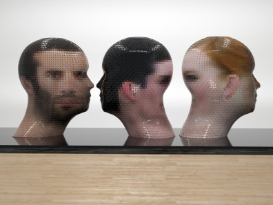 PORTRAIT 360° WatchMe + Anonymous M, Gianluca Traina, 2012, 120 x 40 x 40 cm, Paper and PVC